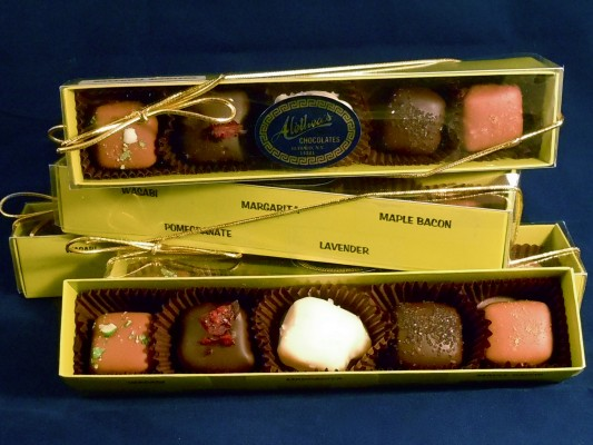 festive box of chocolate truffles