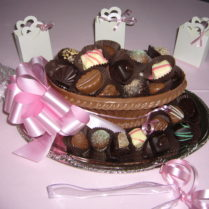 Decorated Chocolate Basket filled with gourmet truffles