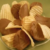 bowl of chocolate dipped potato chips