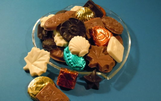 Assorted shapes of bite sized gourmet chocolates