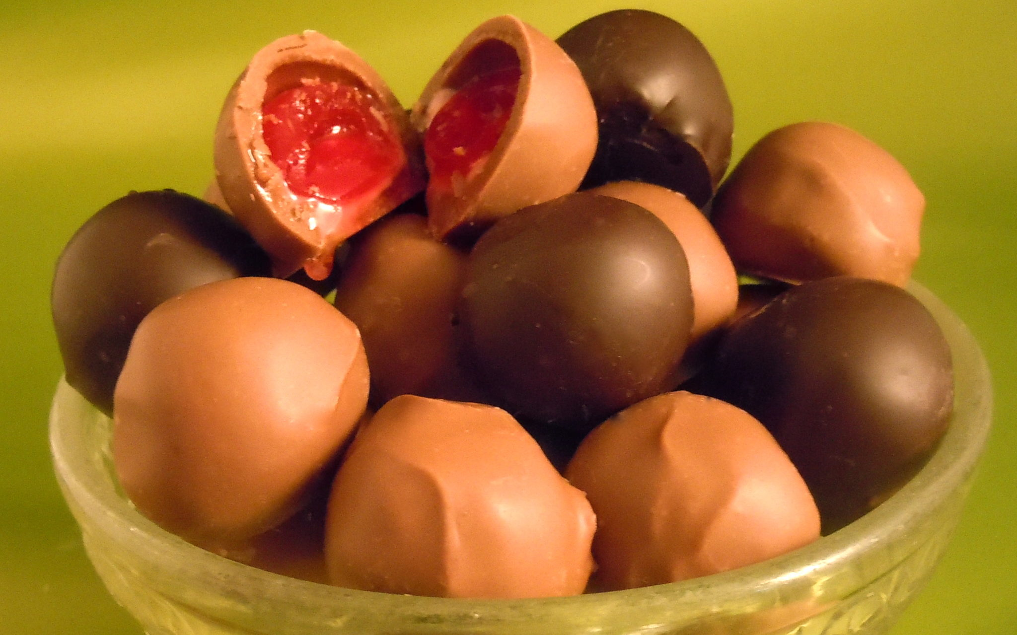 Bowl of juicy gourmet Cherry Cordials