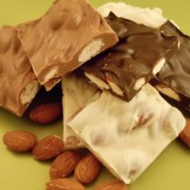 Delicious squares of Almond Bark in a variety of gourmet chocolate