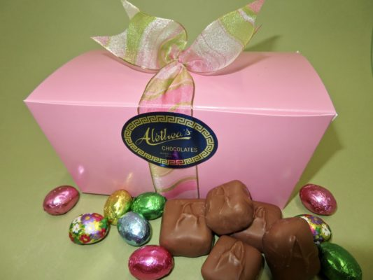 Pretty Spring decorated box with Sponge Candy and chocolate eggs