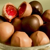 juicy cherry cordials in rich chocolate