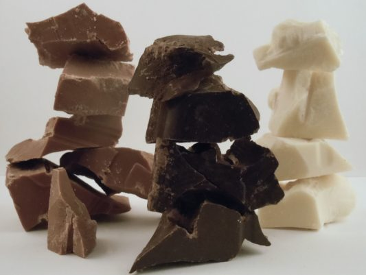 delicious rough cut chunks of various chocolate varieties