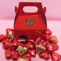 Mini Gable box filled with chocolate hearts for Valentines Day