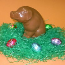 Charming solid chocolate Easter Pig.