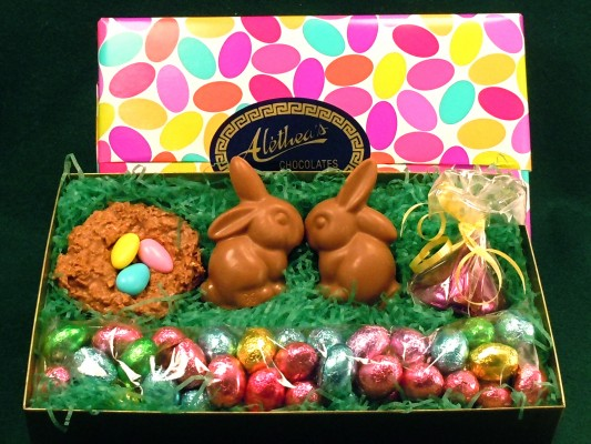 Easter Basket with chocolate bunnies in a box