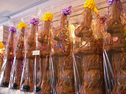 Big, beautiful 3 foot gourmet Chocolate Bunny hand decorated.
