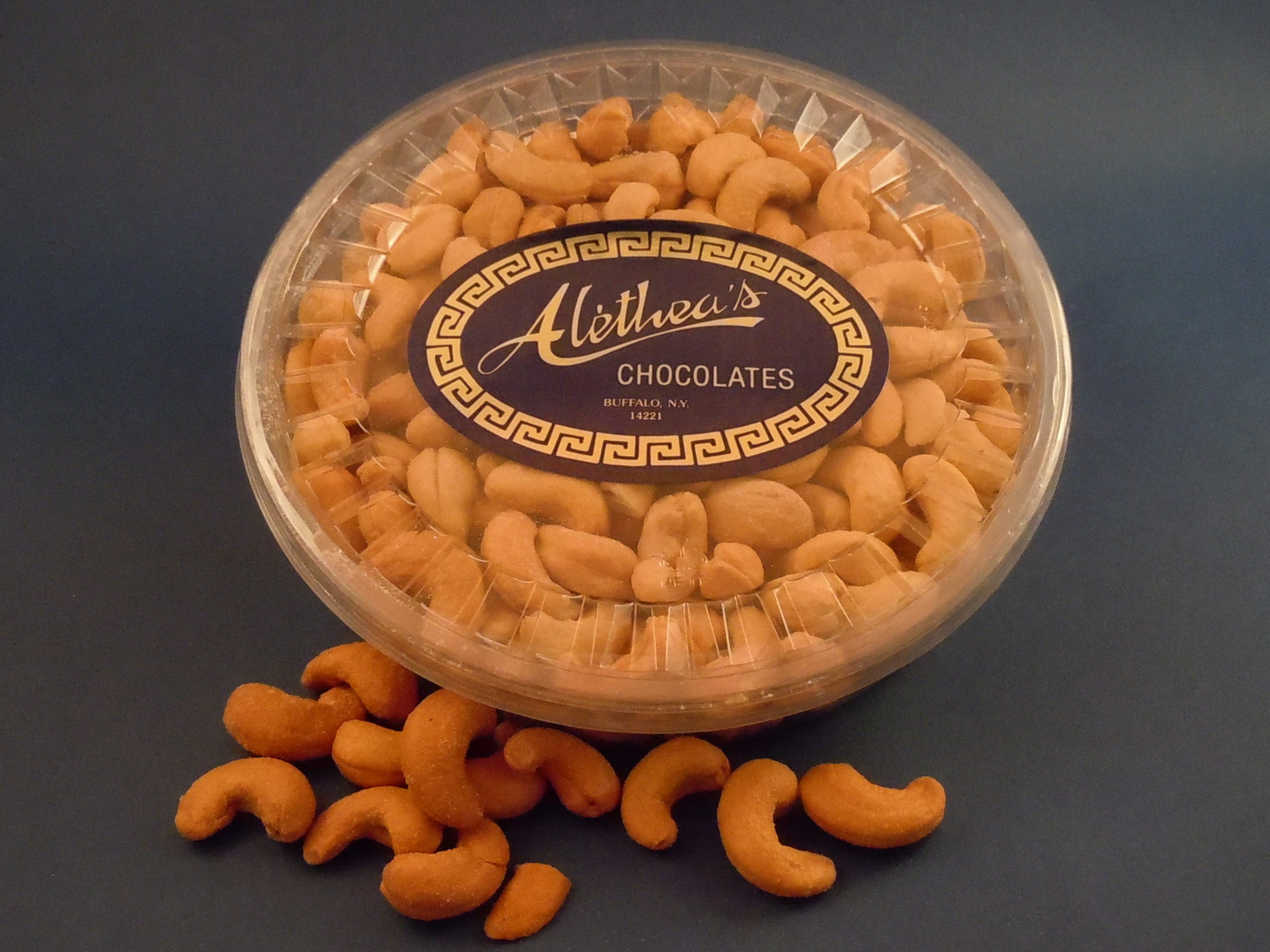 Clear gift box of colossal roasted cashews