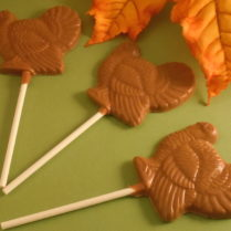 solid milk chocolate turkey shaped pop