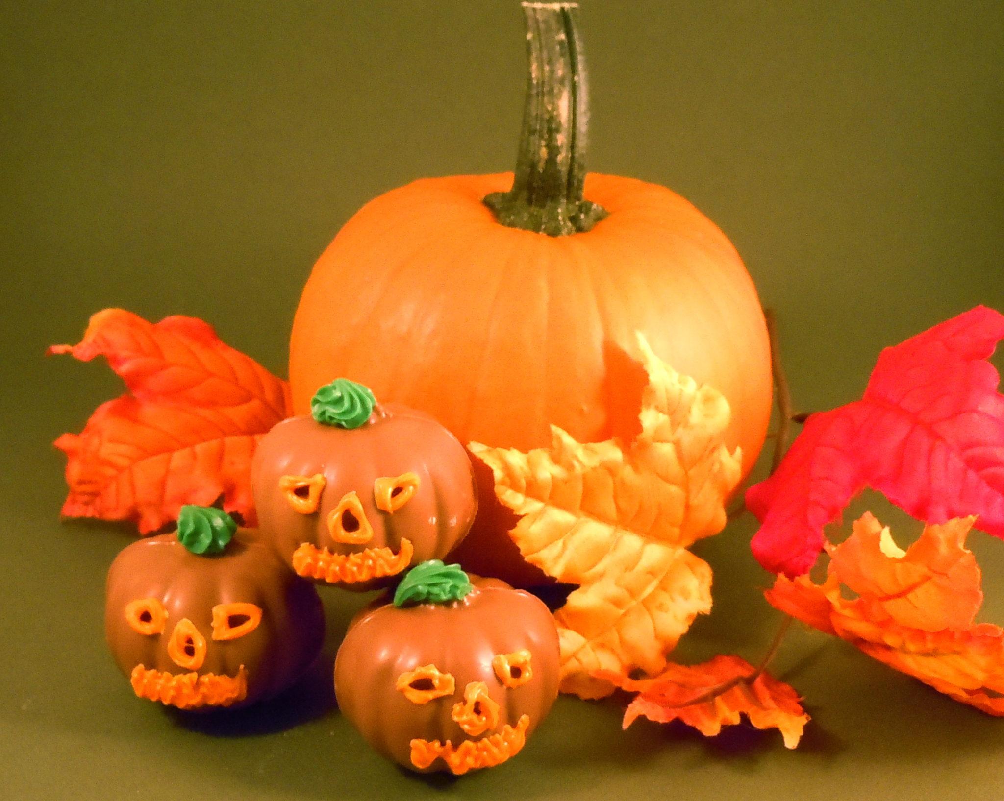 hand decorated milk chocolate jack o lantern pumpkins