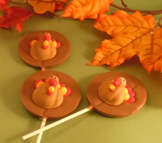 Premium Chocolate Pops with Royal Icing turkeys