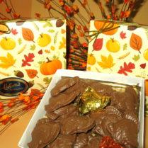 Decorated Fall box of premium chocolate bite sized turkeys