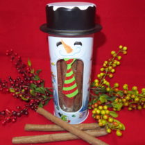 Charming snowman canister filled with Chocolate dipped pretzels