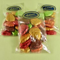 brightly colored foiled chocolate leaves