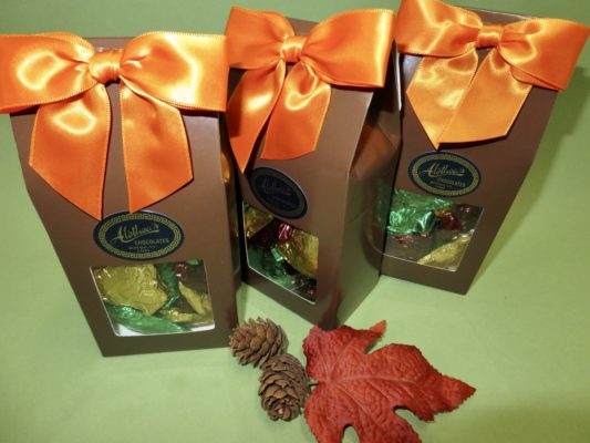 Gift box of foiled Thanksgiving chocolate turkeys