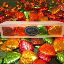 premium chocolate leaves in colorful foil wrap