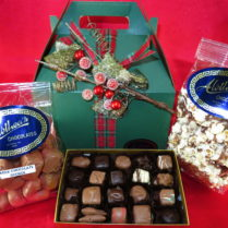 Holiday gift box filled with gourmet chocolate confections