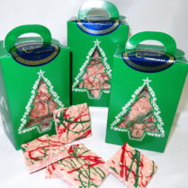 Christmas Tree Box filled with gourmet Peppermint Bark