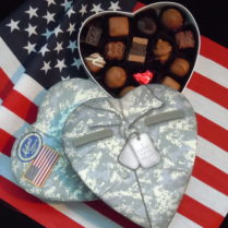 Army fatigue Valentine box with gourmet chocolates