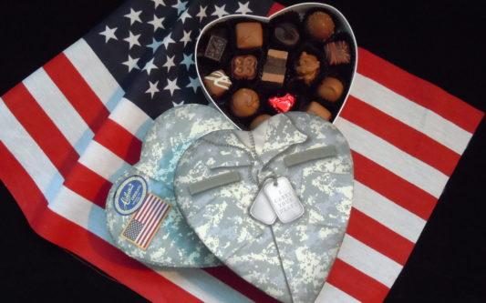Army fatigue Valentine box with gourmet chocolates