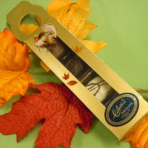 Gold box deco for Fall filled with hand made chocolate truffles