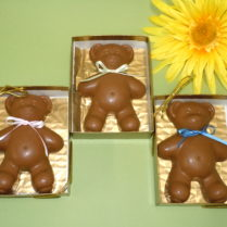 Adorable Chocolate Teddy Bear with a pastel ribbon
