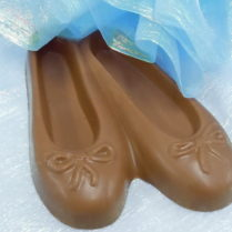 Beautiful pair of milk chocolate ballet slippers
