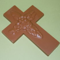 Beautiful floral embossed cross molded from premium chocolate