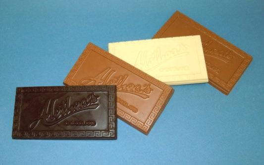 premium Bar of gourmet chocolate with the Alethea logo