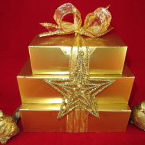 beautiful Gold boxed snack tower for the Holidays