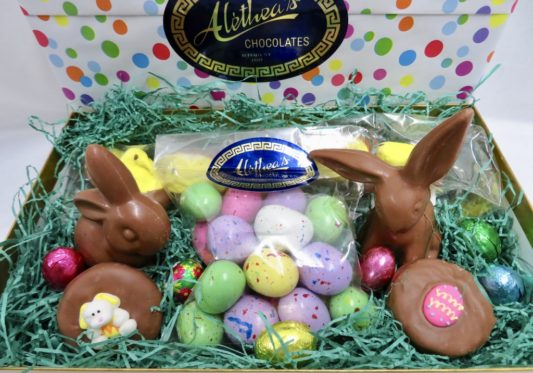 Gourmet Easter Basket items in a gift wrapped box