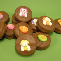 Oreo Cookies drenched in chocolate & decorated for Easter