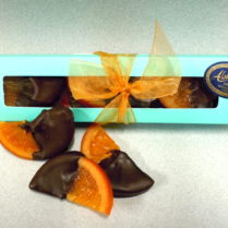 gift box of decadent orange slices dipped in dark chocolate