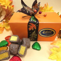 Beautifully decorated box of Sponge Candy with foiled chocolate leaves