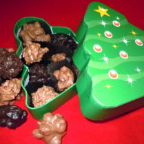 Christmas Tree giftbox filled with hand made chocolate clusters