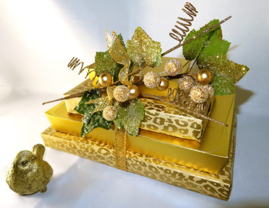 Stunning gift tower in cheetah gold with gourmet chocolates