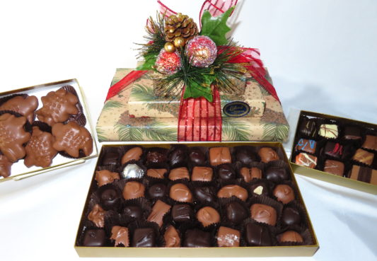 Lovely Holiday gift tower filled with gourmet chocolate confections