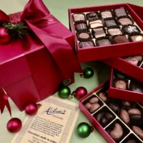 four tiered Jewel box filled with gourmet Holiday Chocolates