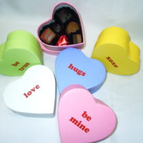 Charming conversation heart box filled with gourmet chocolates