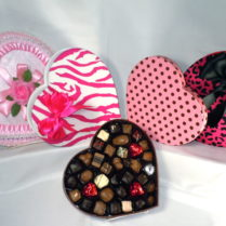 Pretty Pink HeartCandy Boxes filled with gourmet chocolates