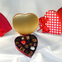 Half pound heart boxes filled with gourmet chocolates