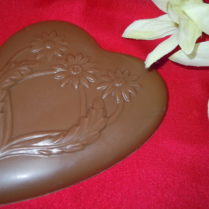 Solid Chocolate Valentine Heart with daisy decoration