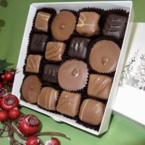Gift box filled with chocolate peanut butter treats