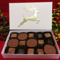Holiday gift box filled with peanut butter confections
