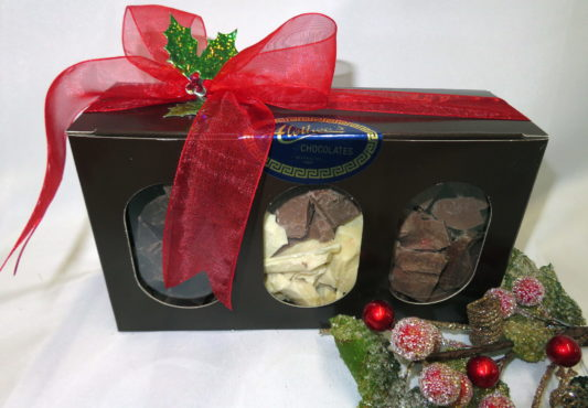 Holiday decorated box of Alethea's collection of gourmet Chocolate chunks