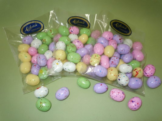 Colorful malted milk chocolate Eastereggs