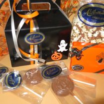 Gable box filled withHalloween Party chocolate treats