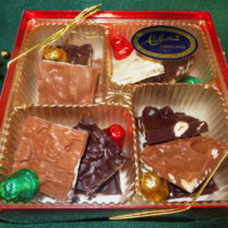 Holiday Gift Box filled with gourmet Chocolate Nut Bark & foiled chocolate bells